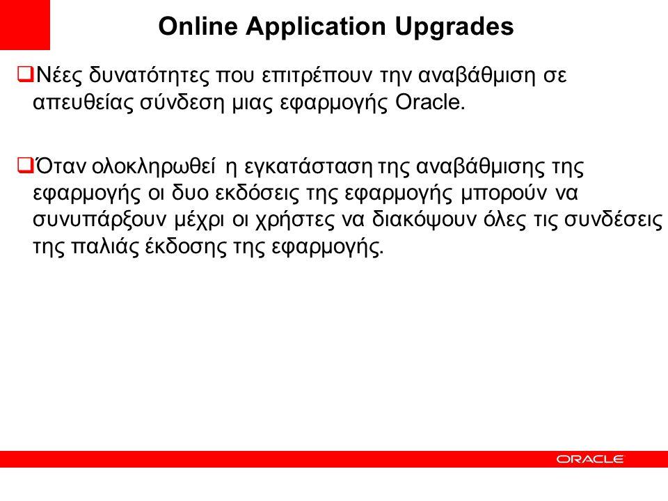 Online Application Upgrades  Νέες δυνατότητες που επιτρέπουν την αναβάθμιση σε απευθείας σύνδεση μιας εφαρμογής Oracle.  Όταν ολοκληρωθεί η εγκατάστ
