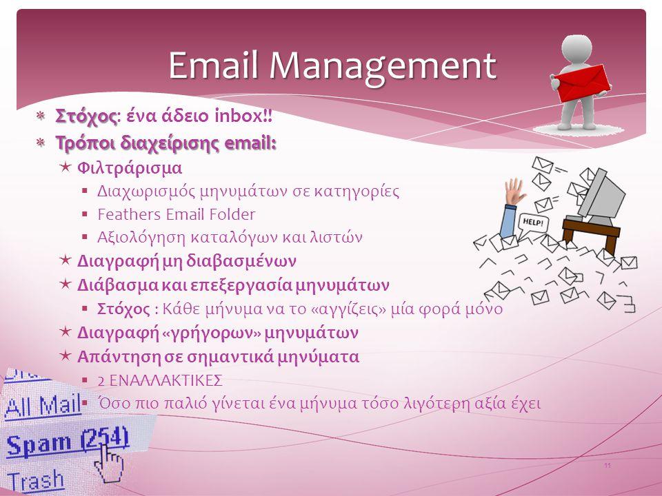 Email Management 11  Στόχος  Στόχος: ένα άδειο inbox!!  Τρόποι διαχείρισης email:  Φιλτράρισμα  Διαχωρισμός μηνυμάτων σε κατηγορίες  Feathers Em