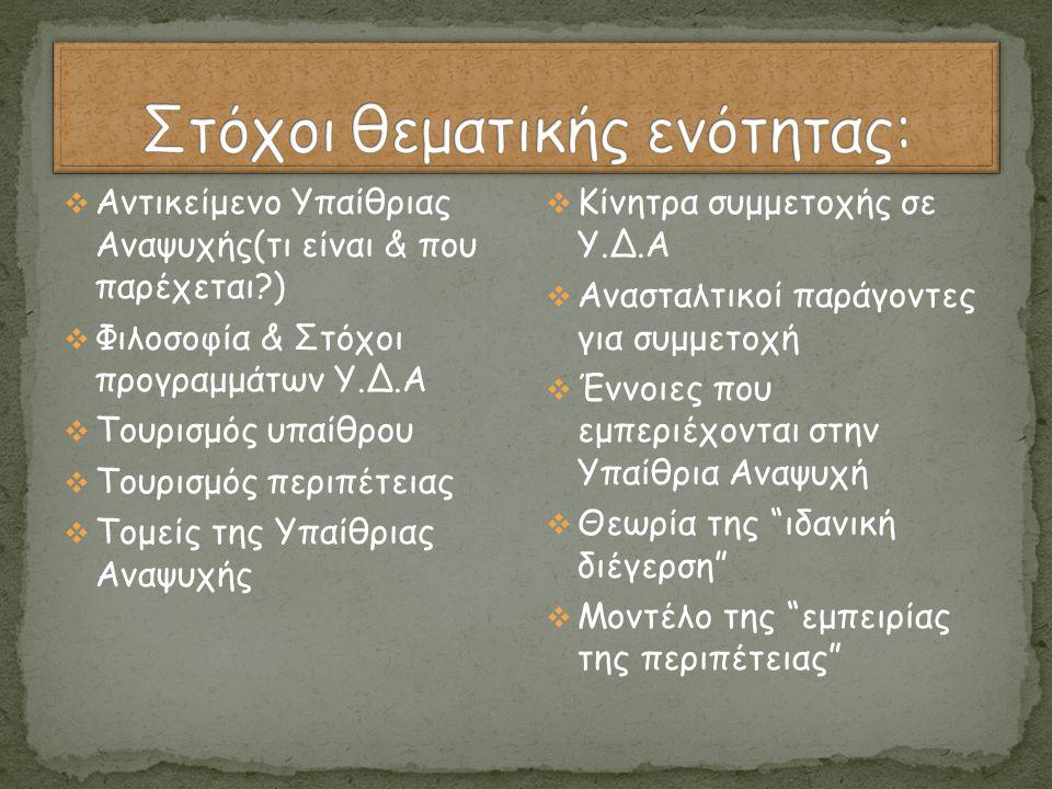  Αντικείμενο Υπαίθριας Αναψυχής(τι είναι & που παρέχεται?)  Φιλοσοφία & Στόχοι προγραμμάτων Υ.Δ.Α  Τουρισμός υπαίθρου  Τουρισμός περιπέτειας  Τομ