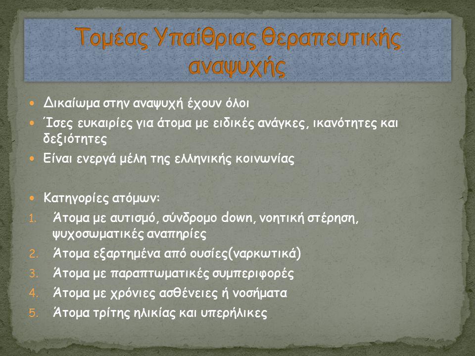  Δικαίωμα στην αναψυχή έχουν όλοι  Ίσες ευκαιρίες για άτομα με ειδικές ανάγκες, ικανότητες και δεξιότητες  Είναι ενεργά μέλη της ελληνικής κοινωνία