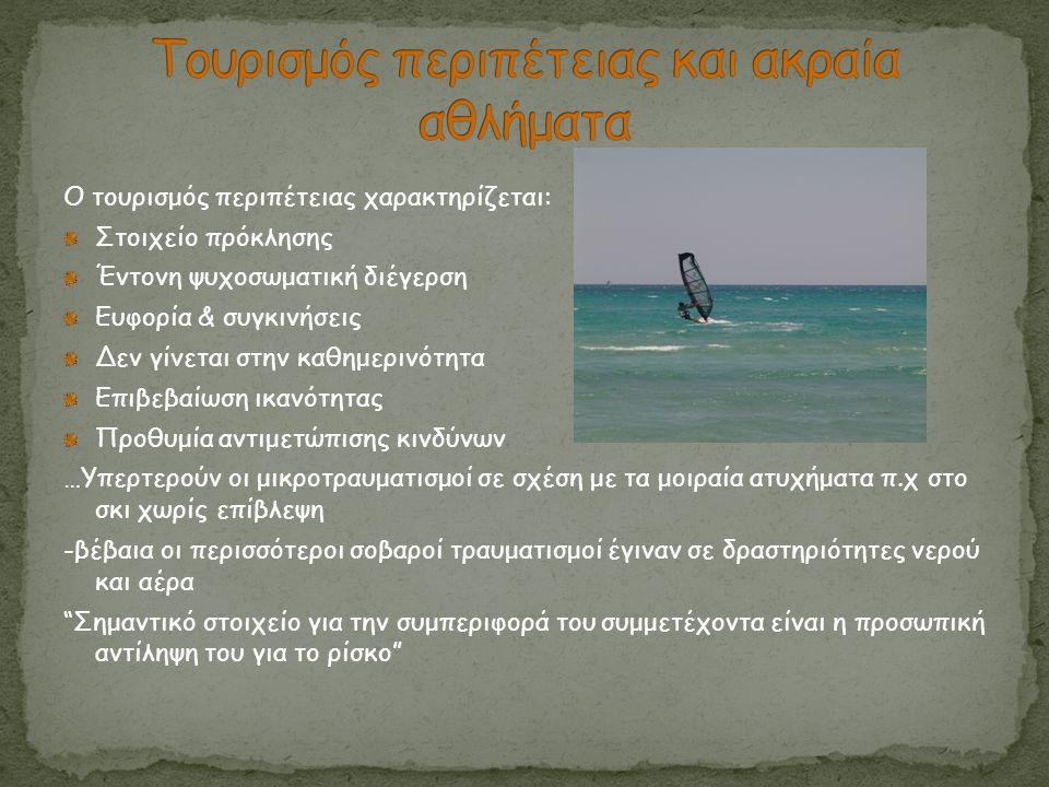 Ο τουρισμός περιπέτειας χαρακτηρίζεται: Στοιχείο πρόκλησης Έντονη ψυχοσωματική διέγερση Ευφορία & συγκινήσεις Δεν γίνεται στην καθημερινότητα Επιβεβαί