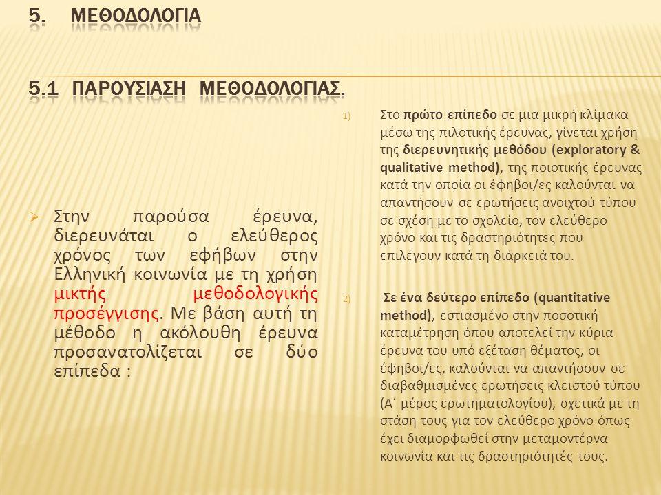  Στην παρούσα έρευνα, διερευνάται ο ελεύθερος χρόνος των εφήβων στην Ελληνική κοινωνία με τη χρήση μικτής μεθοδολογικής προσέγγισης. Με βάση αυτή τη