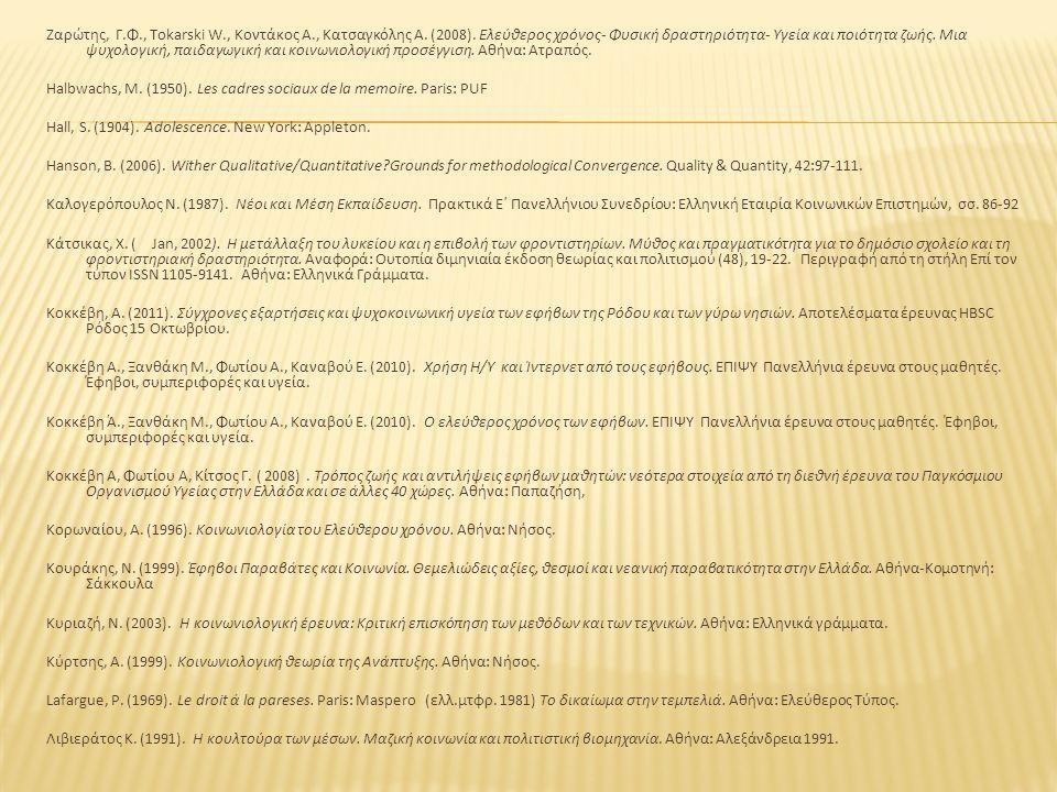 Ζαρώτης, Γ.Φ., Tokarski W., Κοντάκος Α., Κατσαγκόλης Α. (2008). Ελεύθερος χρόνος- Φυσική δραστηριότητα- Υγεία και ποιότητα ζωής. Μια ψυχολογική, παιδα