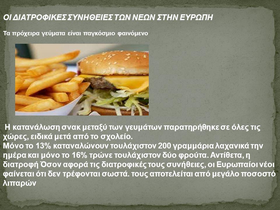 ΟΙ ΔΙΑΤΡΟΦΙΚΕΣ ΣΥΝΗΘΕΙΕΣ ΤΩΝ ΝΕΩΝ ΣΤΗΝ ΕΥΡΩΠΗ Τα πρόχειρα γεύματα είναι παγκόσμιο φαινόμενο Η κατανάλωση σνακ μεταξύ των γευμάτων παρατηρήθηκε σε όλες