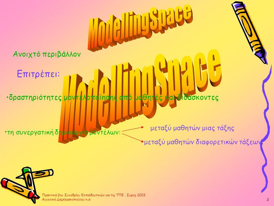 Ανοιχτό περιβάλλον Επιτρέπει: •δραστηριότητες μοντελοποίησης από μαθητές και διδάσκοντες •τη συνεργατική δημιουργία μοντέλων: μεταξύ μαθητών μιας τάξης μεταξύ μαθητών διαφορετικών τάξεων.