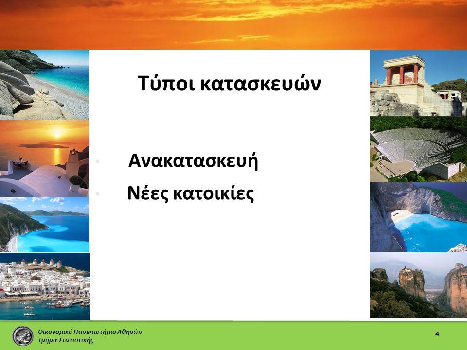 Οικονομικό Πανεπιστήμιο Αθηνών Τμήμα Στατιστικής Τύποι κατασκευών 4 • Ανακατασκευή • Νέες κατοικίες