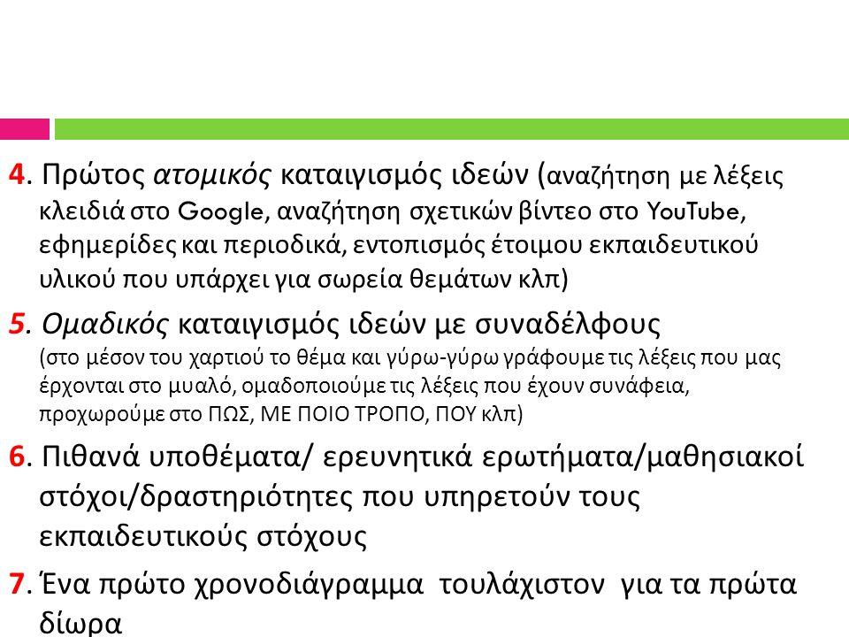 4. Πρώτος ατομικός καταιγισμός ιδεών ( αναζήτηση με λέξεις κλειδιά στο Google, αναζήτηση σχετικών βίντεο στο YouTube, εφημερίδες και περιοδικά, εντοπι