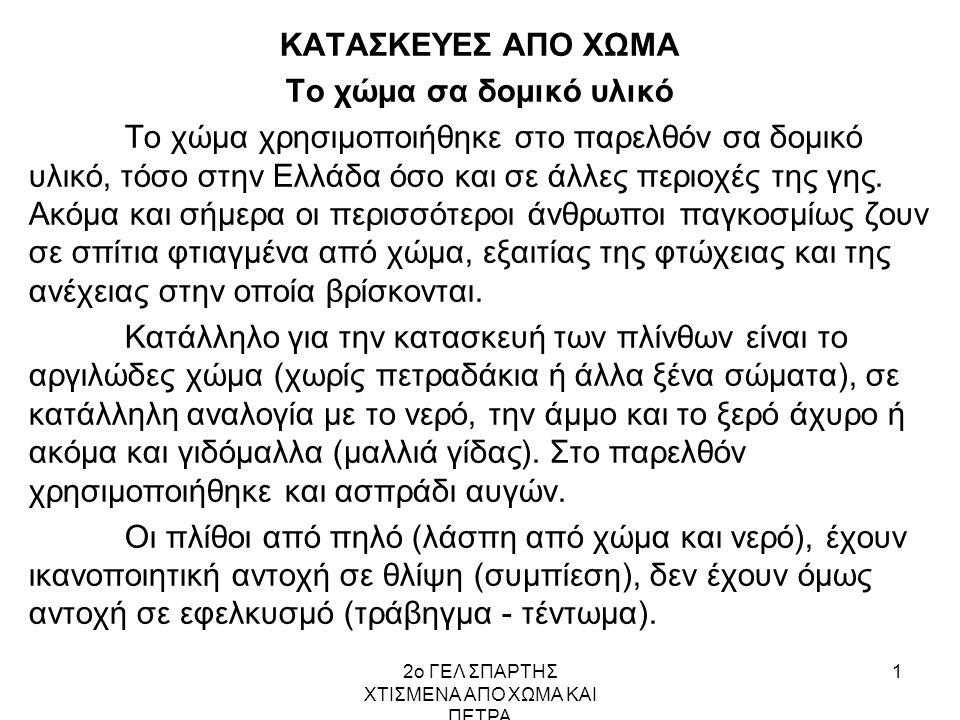 2ο ΓΕΛ ΣΠΑΡΤΗΣ ΧΤΙΣΜΕΝΑ ΑΠΟ ΧΩΜΑ ΚΑΙ ΠΕΤΡΑ 12 Σπίτι μου χτισμένο από πηλό Δυο σπίτια από πηλό που χτίστηκαν πρόσφατα στην Ελλάδα Ελαιόρεμα Πανοράματος Θεσσαλονίκης