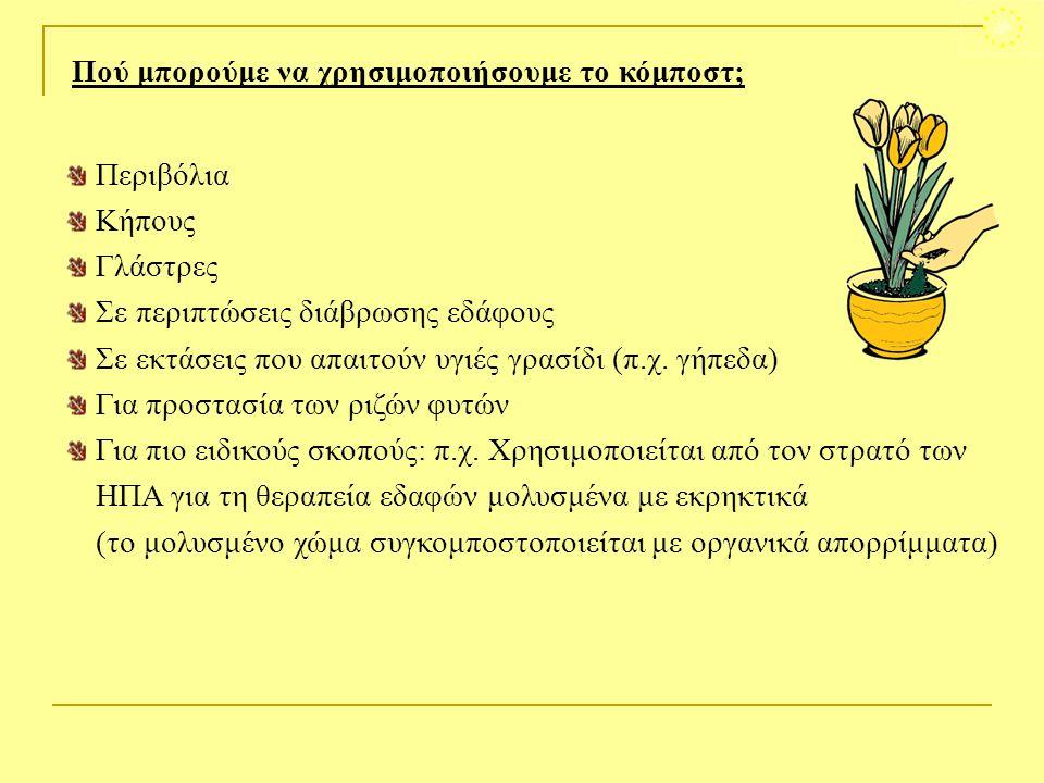 Περιβόλια Κήπους Γλάστρες Σε περιπτώσεις διάβρωσης εδάφους Σε εκτάσεις που απαιτούν υγιές γρασίδι (π.χ. γήπεδα) Για προστασία των ριζών φυτών Για πιο