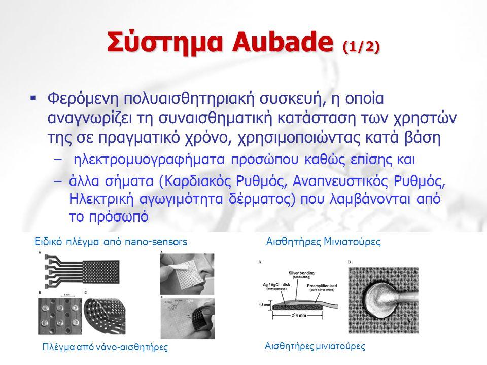 Σύστημα Aubade (1/2)  Φερόμενη πολυαισθητηριακή συσκευή, η οποία αναγνωρίζει τη συναισθηματική κατάσταση των χρηστών της σε πραγματικό χρόνο, χρησιμο