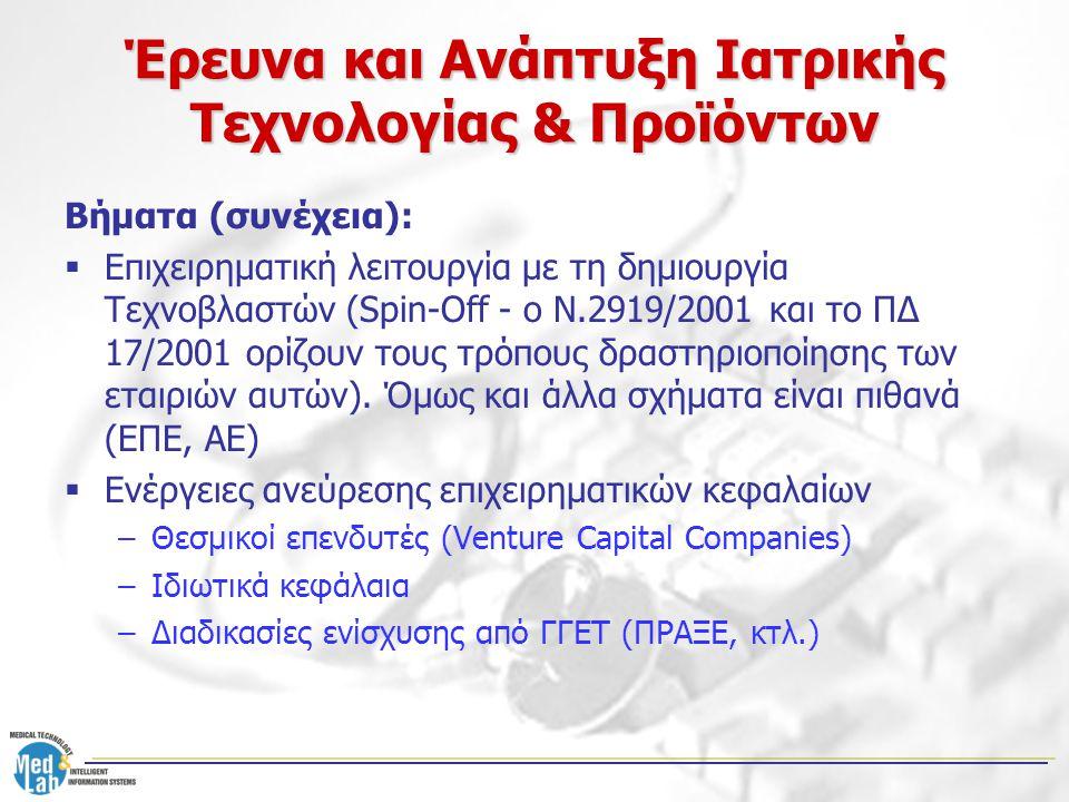 Βήματα (συνέχεια):  Επιχειρηματική λειτουργία με τη δημιουργία Τεχνοβλαστών (Spin-Off - ο Ν.2919/2001 και το ΠΔ 17/2001 ορίζουν τους τρόπους δραστηρι