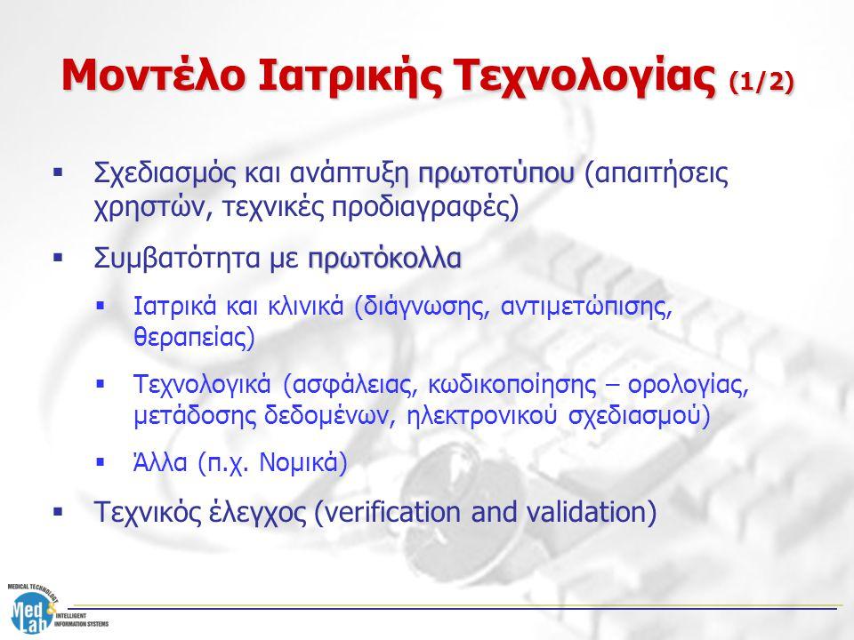 Μοντέλο Ιατρικής Τεχνολογίας (2/2)  Κλινικές Δοκιμές και Εγκρίσεις από οργανισμούς: –Περιγραφή κλινικής μελέτης (τεχνολογική εφαρμογή, δείγμα δοκιμής, φάσεις, χρονικός προγραμματισμός, διαχείριση ανεπιθύμητων επεισοδίων, αξιολόγηση, διαδικασίες) –Έγκριση από το Συμβούλιο Θεώρησης Ιδρύματος (π.χ.