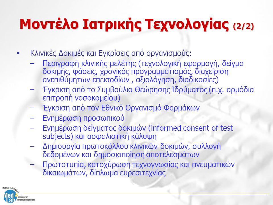 Μοντέλο Ιατρικής Τεχνολογίας (2/2)  Κλινικές Δοκιμές και Εγκρίσεις από οργανισμούς: –Περιγραφή κλινικής μελέτης (τεχνολογική εφαρμογή, δείγμα δοκιμής