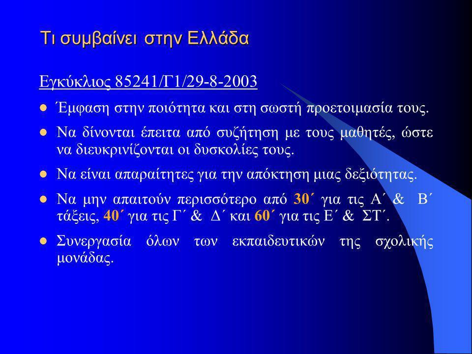 Τι συμβαίνει στην Ελλάδα Εγκύκλιος 85241/Γ1/29-8-2003  Έμφαση στην ποιότητα και στη σωστή προετοιμασία τους.  Να δίνονται έπειτα από συζήτηση με του