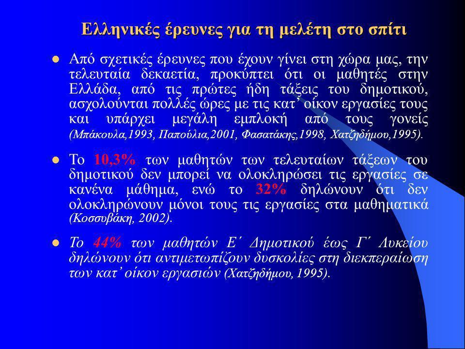 Ελληνικές έρευνες για τη μελέτη στο σπίτι  Από σχετικές έρευνες που έχουν γίνει στη χώρα μας, την τελευταία δεκαετία, προκύπτει ότι οι μαθητές στην Ε