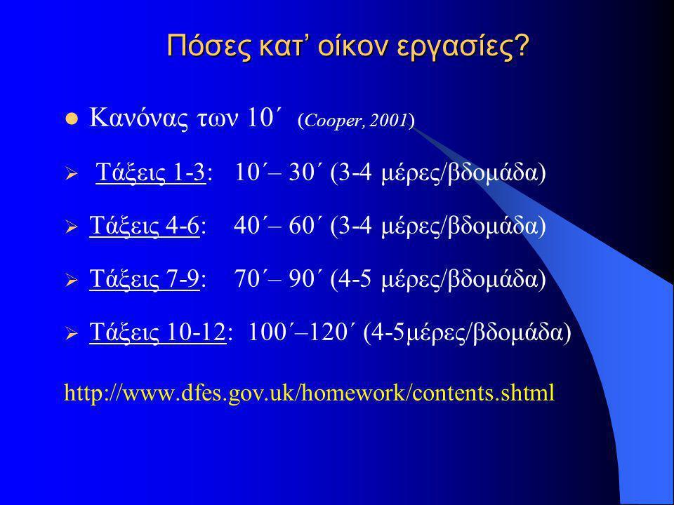 Πόσες κατ' οίκον εργασίες?  Κανόνας των 10΄ (Cooper, 2001)  Τάξεις 1-3: 10΄– 30΄ (3-4 μέρες/βδομάδα)  Τάξεις 4-6: 40΄– 60΄ (3-4 μέρες/βδομάδα)  Τά