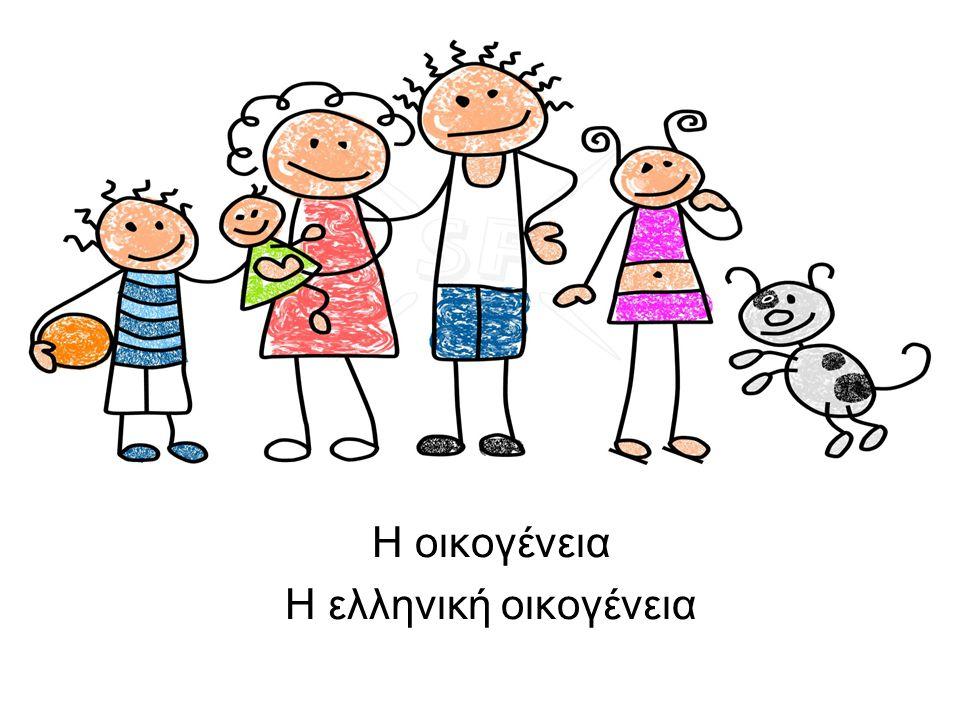 α.Η οικογένεια - Η ελληνική οικογένεια 1.Έννοια της οικογένειας 2.Κύριες μορφές της οικογένειας 3.Ιστορική αναδρομή του θεσμού της οικογένειας 4.Χαρακτηριστικά της ελληνικής οικογένειας σήμερα 5.Τα είδη της συγγένειας