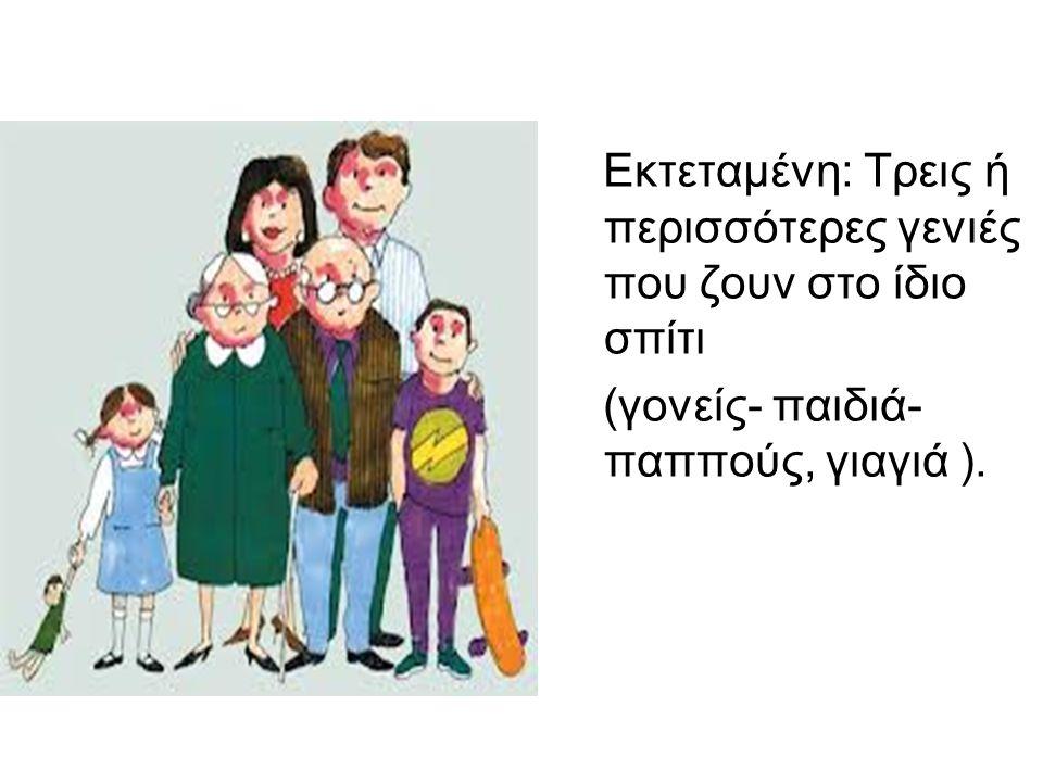 Εκτεταμένη: Τρεις ή περισσότερες γενιές που ζουν στο ίδιο σπίτι (γονείς- παιδιά- παππούς, γιαγιά ).