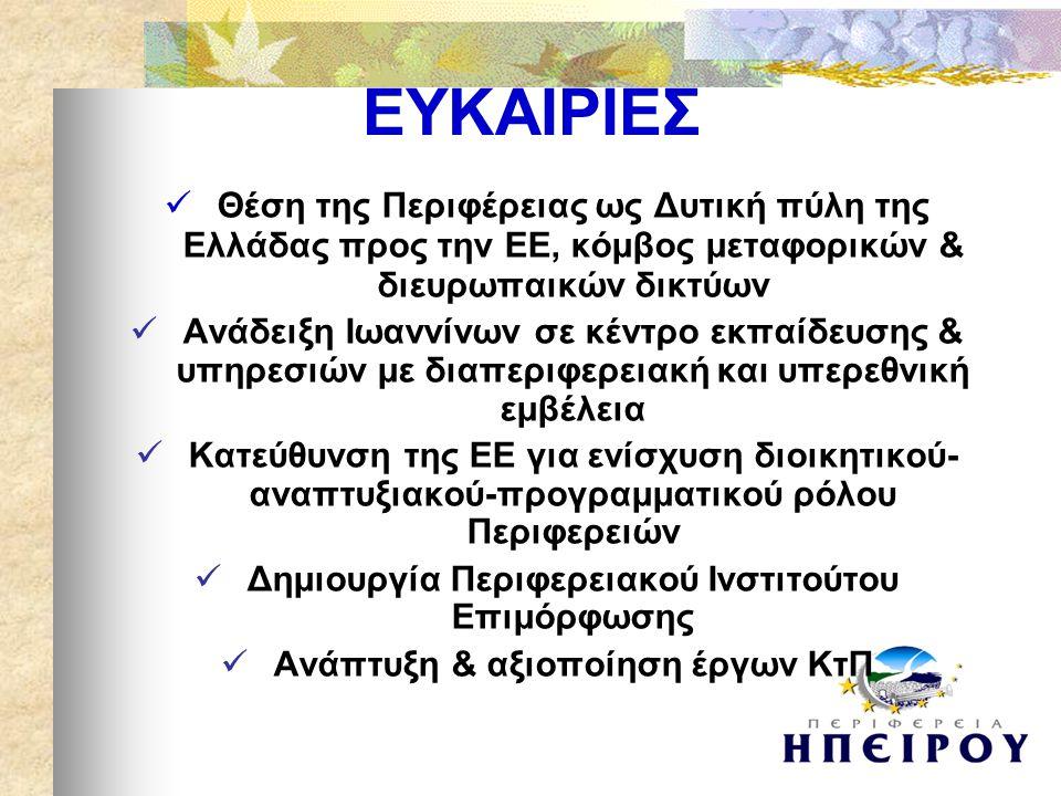  Θέση της Περιφέρειας ως Δυτική πύλη της Ελλάδας προς την ΕΕ, κόμβος μεταφορικών & διευρωπαικών δικτύων  Ανάδειξη Ιωαννίνων σε κέντρο εκπαίδευσης & υπηρεσιών με διαπεριφερειακή και υπερεθνική εμβέλεια  Κατεύθυνση της ΕΕ για ενίσχυση διοικητικού- αναπτυξιακού-προγραμματικού ρόλου Περιφερειών  Δημιουργία Περιφερειακού Ινστιτούτου Επιμόρφωσης  Ανάπτυξη & αξιοποίηση έργων ΚτΠ ΕΥΚΑΙΡΙΕΣ