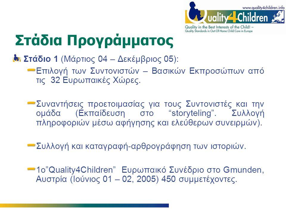 Στάδια Προγράμματος Στάδιο 1 (Μάρτιος 04 – Δεκέμβριος 05): Επιλογή των Συντονιστών – Βασικών Εκπροσώπων από τις 32 Ευρωπαικές Χώρες.