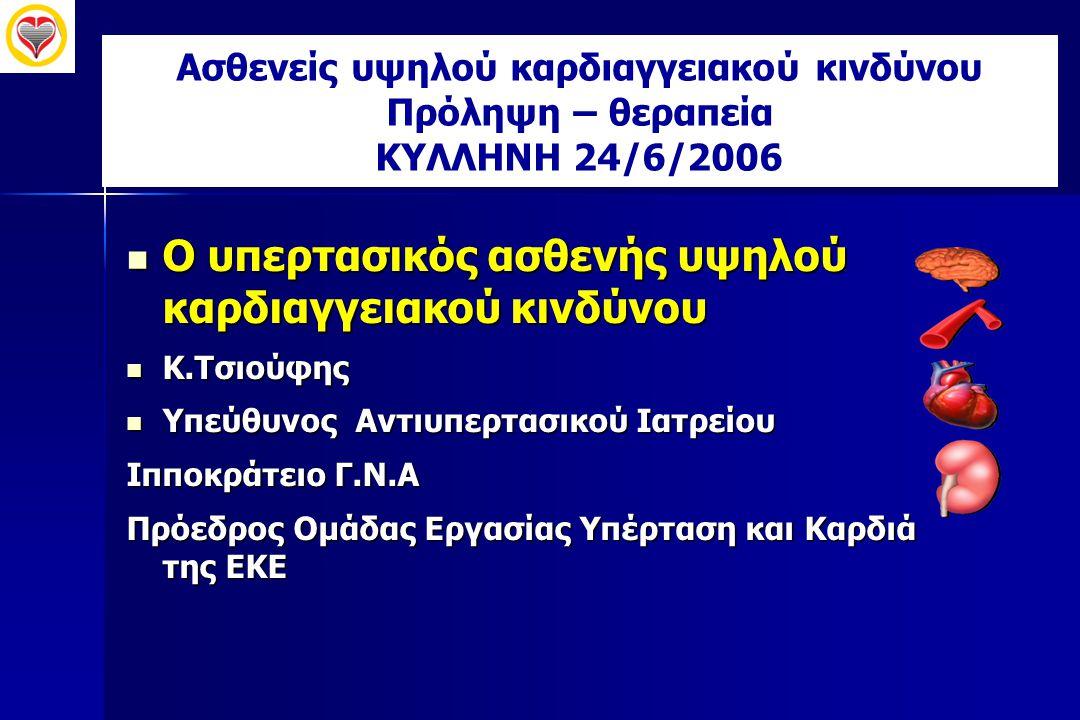 Επίπεδα τιμών ΑΠ (mmHg) για τον ορισμό της ΑΥ ΣΑΠΔΑΠ ΑΠ Ιατρείου14090 24ωρη ΑΠ12580 Μετρήσεις στο σπίτι (Περιπατητική ΑΠ) 13585 ESC/ESH 2003JNC VII