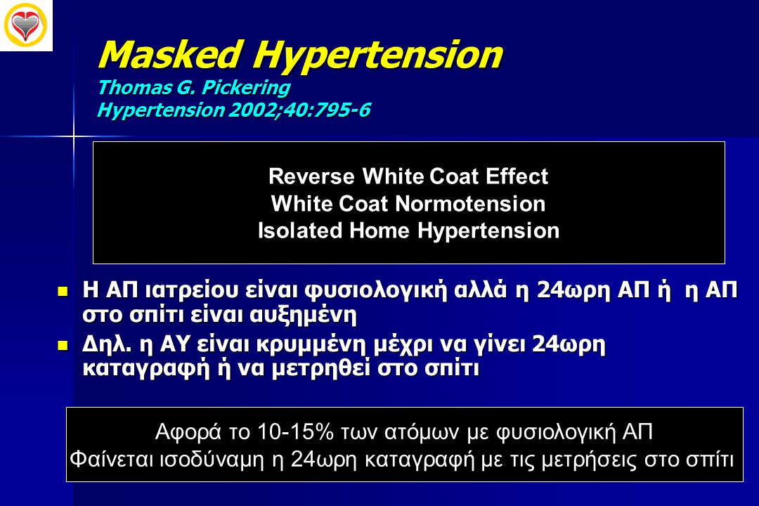 Masked Hypertension Thomas G. Pickering Hypertension 2002;40:795-6  Η ΑΠ ιατρείου είναι φυσιολογική αλλά η 24ωρη ΑΠ ή η ΑΠ στο σπίτι είναι αυξημένη 