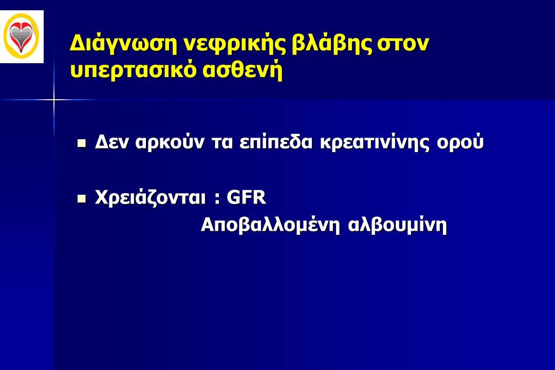 Διάγνωση νεφρικής βλάβης στον υπερτασικό ασθενή  Δεν αρκούν τα επίπεδα κρεατινίνης ορού  Χρειάζονται : GFR Αποβαλλομένη αλβουμίνη Αποβαλλομένη αλβου
