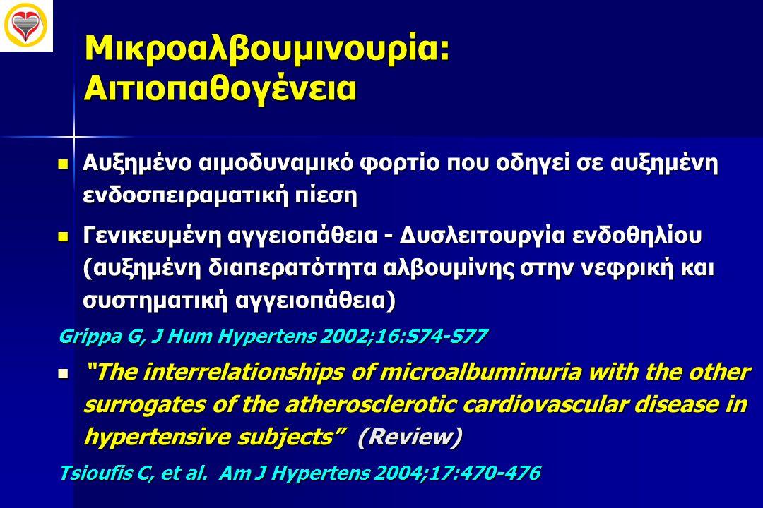 Μικροαλβουμινουρία: Αιτιοπαθογένεια  Αυξημένο αιμοδυναμικό φορτίο που οδηγεί σε αυξημένη ενδοσπειραματική πίεση  Γενικευμένη αγγειοπάθεια - Δυσλειτο