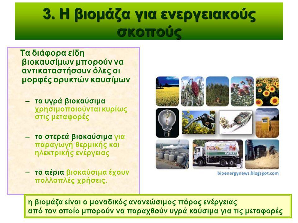3. Η βιομάζα για ενεργειακούς σκοπούς Τα διάφορα είδη βιοκαυσίμων μπορούν να αντικαταστήσουν όλες οι μορφές ορυκτών καυσίμων –τα υγρά βιοκαύσιμα χρησι