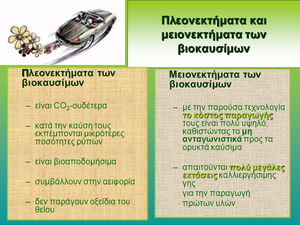 Πλεονεκτήματα και μειονεκτήματα των βιοκαυσίμων Π Πλεονεκτήματα των βιοκαυσίμων –είναι CO 2 -ουδέτερα –κατά την καύση τους εκπέμπονται μικρότερες ποσό