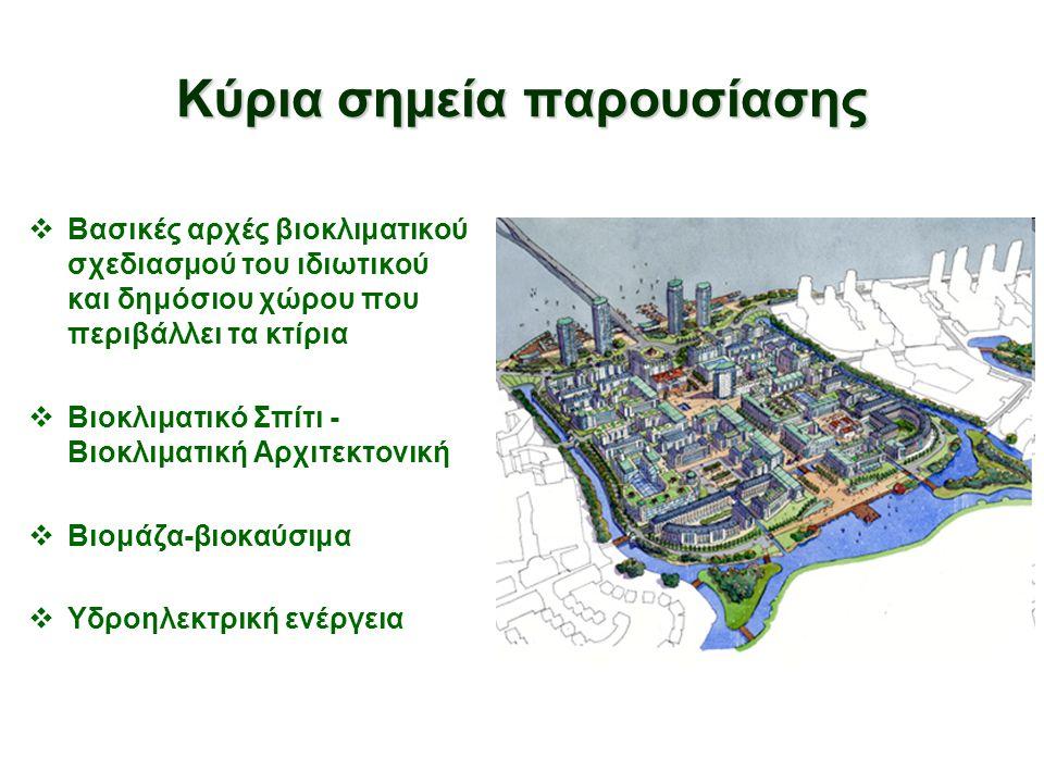 Κύρια σημεία παρουσίασης  Βασικές αρχές βιοκλιματικού σχεδιασμού του ιδιωτικού και δημόσιου χώρου που περιβάλλει τα κτίρια  Bιοκλιματικό Σπίτι - Βιο