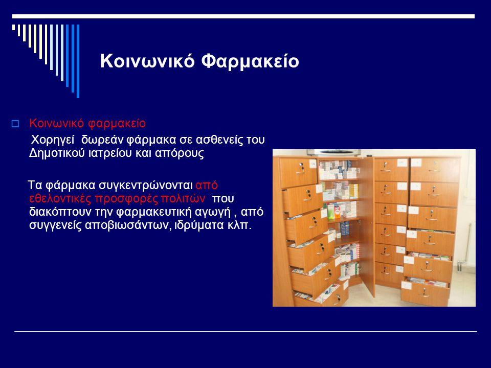 Κοινωνικό Φαρμακείο  Κοινωνικό φαρμακείο Χορηγεί δωρεάν φάρμακα σε ασθενείς του Δημοτικού ιατρείου και απόρους Τα φάρμακα συγκεντρώνονται από εθελοντ