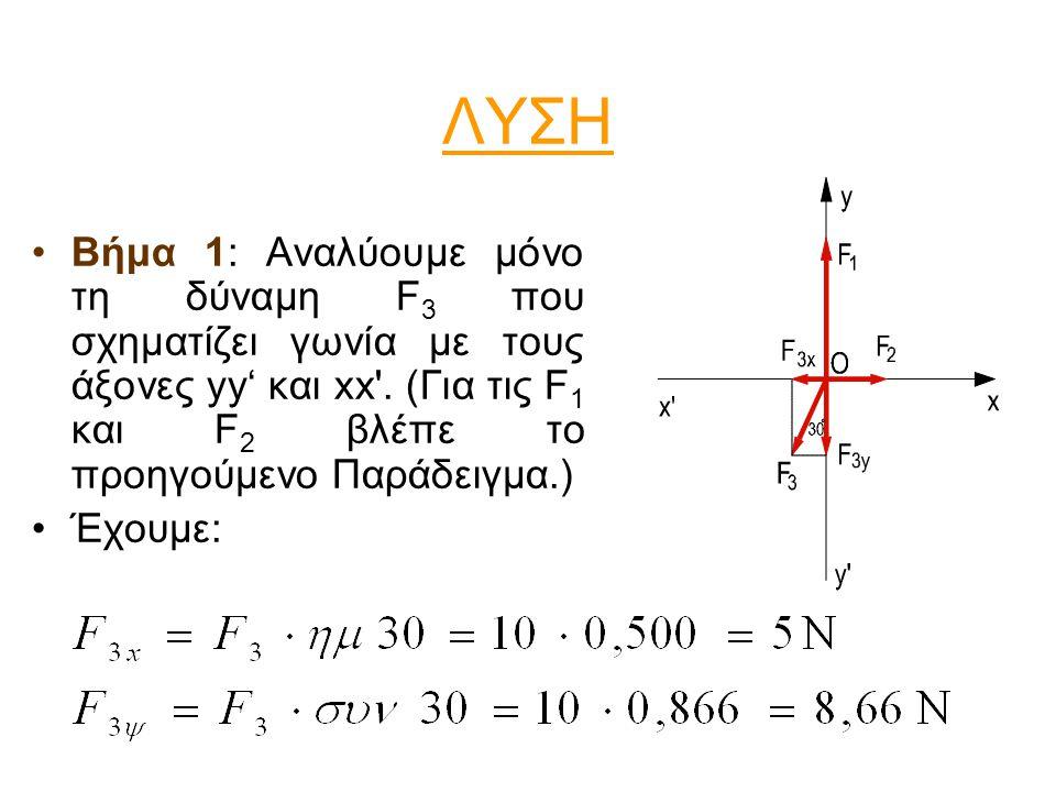 ΛΥΣΗ •Βήμα 1: Αναλύουμε μόνο τη δύναμη F 3 που σχηματίζει γωνία με τους άξονες yy' και xx'. (Για τις F 1 και F 2 βλέπε το προηγούμενο Παράδειγμα.) •Έχ