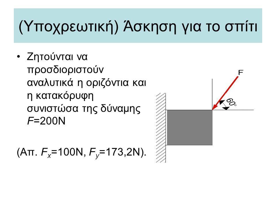 (Υποχρεωτική) Άσκηση για το σπίτι •Ζητούνται να προσδιοριστούν αναλυτικά η οριζόντια και η κατακόρυφη συνιστώσα της δύναμης F=200Ν (Απ. F x =100N, F y