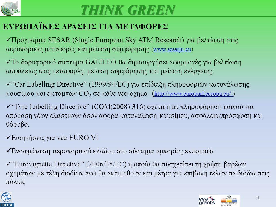 ΕΥΡΩΠΑΪΚΕΣ ΔΡΑΣΕΙΣ ΓΙΑ ΜΕΤΑΦΟΡΕΣ 11 THINK GREEN  Πρόγραμμα SESAR (Single European Sky ATM Research) για βελτίωση στις αεροπορικές μεταφορές και μείωση συμφόρησης (www.sesarju.eu)www.sesarju.eu  Το δορυφορικό σύστημα GALILEO θα δημιουργήσει εφαρμογές για βελτίωση ασφάλειας στις μεταφορές, μείωση συμφόρησης και μείωση ενέργειας.