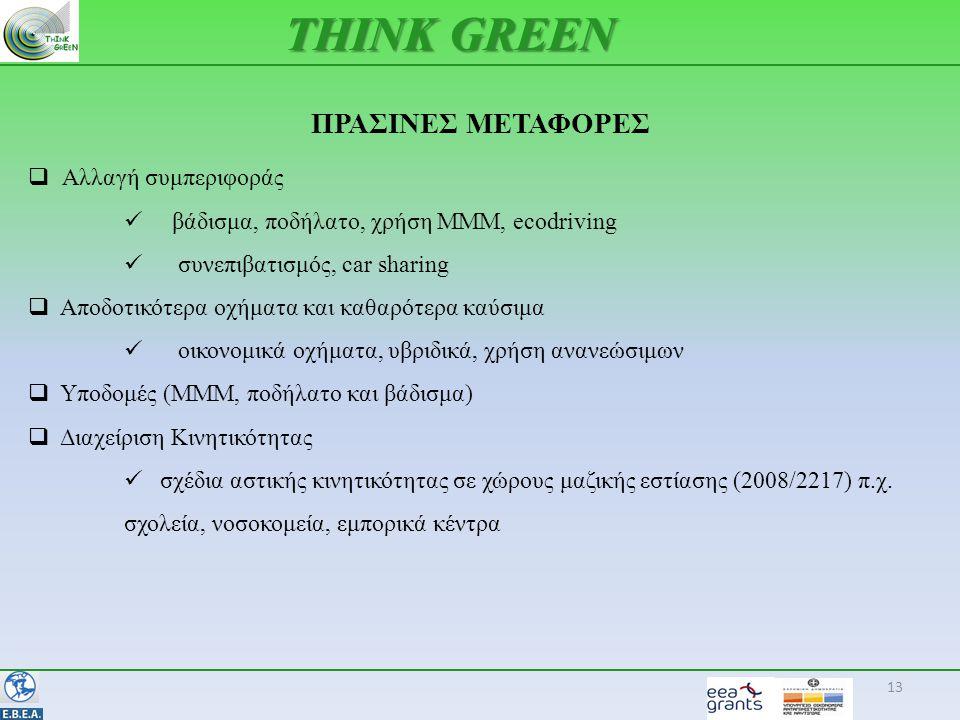 ΠΡΑΣΙΝΕΣ ΜΕΤΑΦΟΡΕΣ 13 THINK GREEN  Αλλαγή συμπεριφοράς  βάδισμα, ποδήλατο, χρήση ΜΜΜ, ecodriving  συνεπιβατισμός, car sharing  Αποδοτικότερα οχήματα και καθαρότερα καύσιμα  οικονομικά οχήματα, υβριδικά, χρήση ανανεώσιμων  Υποδομές (ΜΜΜ, ποδήλατο και βάδισμα)  Διαχείριση Κινητικότητας  σχέδια αστικής κινητικότητας σε χώρους μαζικής εστίασης (2008/2217) π.χ.