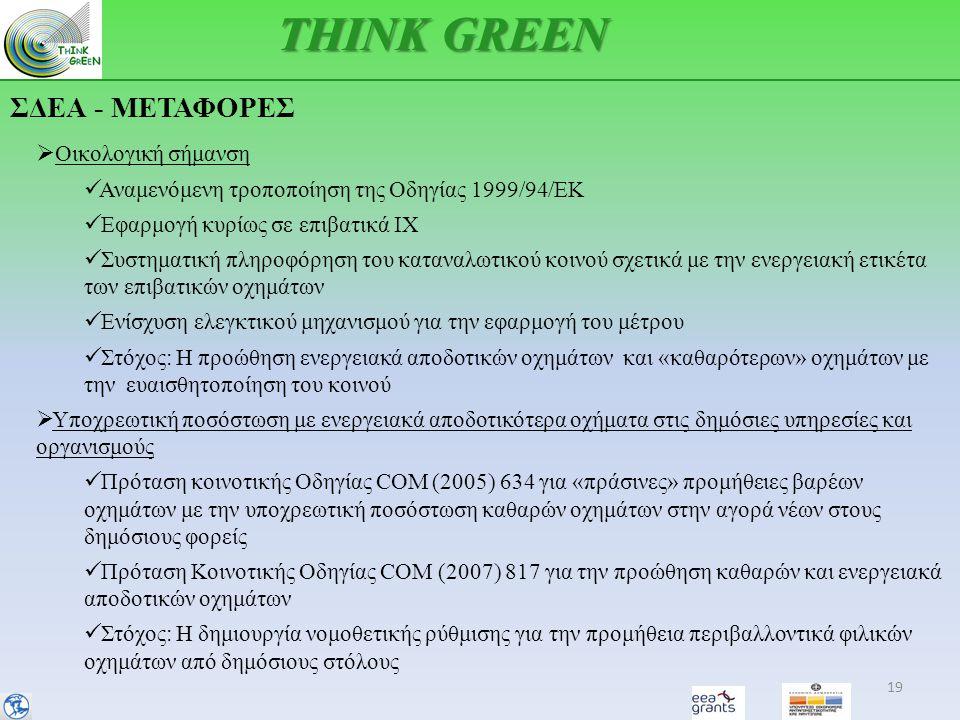ΣΔΕΑ - ΜΕΤΑΦΟΡΕΣ 19 THINK GREEN  Οικολογική σήμανση  Αναμενόμενη τροποποίηση της Οδηγίας 1999/94/ΕΚ  Εφαρμογή κυρίως σε επιβατικά ΙΧ  Συστηματική πληροφόρηση του καταναλωτικού κοινού σχετικά με την ενεργειακή ετικέτα των επιβατικών οχημάτων  Ενίσχυση ελεγκτικού μηχανισμού για την εφαρμογή του μέτρου  Στόχος: Η προώθηση ενεργειακά αποδοτικών οχημάτων και «καθαρότερων» οχημάτων με την ευαισθητοποίηση του κοινού  Υποχρεωτική ποσόστωση με ενεργειακά αποδοτικότερα οχήματα στις δημόσιες υπηρεσίες και οργανισμούς  Πρόταση κοινοτικής Οδηγίας COM (2005) 634 για «πράσινες» προμήθειες βαρέων οχημάτων με την υποχρεωτική ποσόστωση καθαρών οχημάτων στην αγορά νέων στους δημόσιους φορείς  Πρόταση Κοινοτικής Οδηγίας COM (2007) 817 για την προώθηση καθαρών και ενεργειακά αποδοτικών οχημάτων  Στόχος: Η δημιουργία νομοθετικής ρύθμισης για την προμήθεια περιβαλλοντικά φιλικών οχημάτων από δημόσιους στόλους