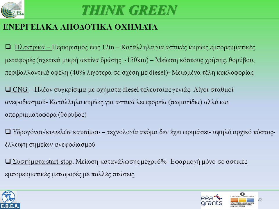 ΕΝΕΡΓΕΙΑΚΑ ΑΠΟΔΟΤΙΚΑ ΟΧΗΜΑΤΑ 22 THINK GREEN  Ηλεκτρικά – Περιορισμός έως 12tn – Κατάλληλα για αστικές κυρίως εμπορευματικές μεταφορές (σχετικά μικρή ακτίνα δράσης ~150km) – Μείωση κόστους χρήσης, θορύβου, περιβαλλοντικά οφέλη (40% λιγότερα σε σχέση με diesel)- Μειωμένα τέλη κυκλοφορίας  CNG – Πλέον συγκρίσιμα με οχήματα diesel τελευταίας γενιάς- Λίγοι σταθμοί ανεφοδιασμού- Κατάλληλα κυρίως για αστικά λεωφορεία (σωματίδια) αλλά και απορριμματοφόρα (θόρυβος)  Υδρογόνου/κυψελών καυσίμου – τεχνολογία ακόμα δεν έχει ωριμάσει- υψηλό αρχικό κόστος- έλλειψη σημείων ανεφοδιασμού  Συστήματα start-stop.