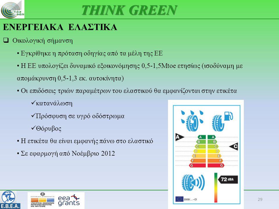 ΕΝΕΡΓΕΙΑΚΑ ΕΛΑΣΤΙΚΑ 29 THINK GREEN  Οικολογική σήμανση • Εγκρίθηκε η πρόταση οδηγίας από τα μέλη της ΕΕ • Η ΕΕ υπολογίζει δυναμικό εξοικονόμησης 0,5-1,5Mtoe ετησίως (ισοδύναμη με απομάκρυνση 0,5-1,3 εκ.