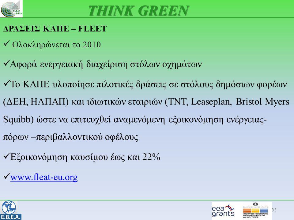 33 THINK GREEN ΔΡΑΣΕΙΣ ΚΑΠΕ – FLEET  Ολοκληρώνεται το 2010  Αφορά ενεργειακή διαχείριση στόλων οχημάτων  Το ΚΑΠΕ υλοποίησε πιλοτικές δράσεις σε στό