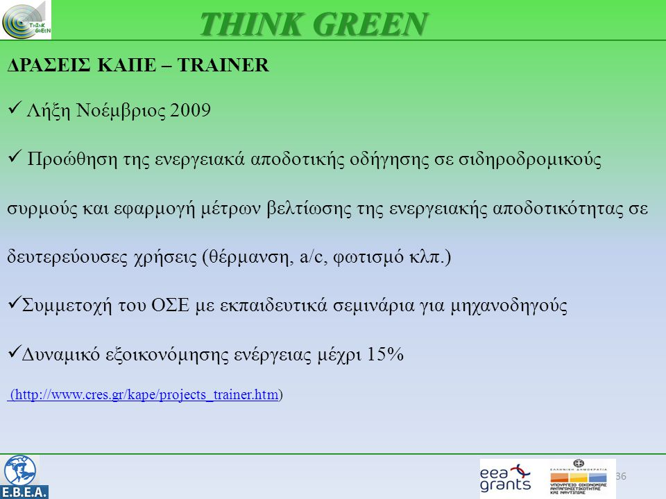 36 THINK GREEN ΔΡΑΣΕΙΣ ΚΑΠΕ – TRAINER  Λήξη Νοέμβριος 2009  Προώθηση της ενεργειακά αποδοτικής οδήγησης σε σιδηροδρομικούς συρμούς και εφαρμογή μέτρων βελτίωσης της ενεργειακής αποδοτικότητας σε δευτερεύουσες χρήσεις (θέρμανση, a/c, φωτισμό κλπ.)  Συμμετοχή του ΟΣΕ με εκπαιδευτικά σεμινάρια για μηχανοδηγούς  Δυναμικό εξοικονόμησης ενέργειας μέχρι 15% (http://www.cres.gr/kape/projects_trainer.htm (http://www.cres.gr/kape/projects_trainer.htm)