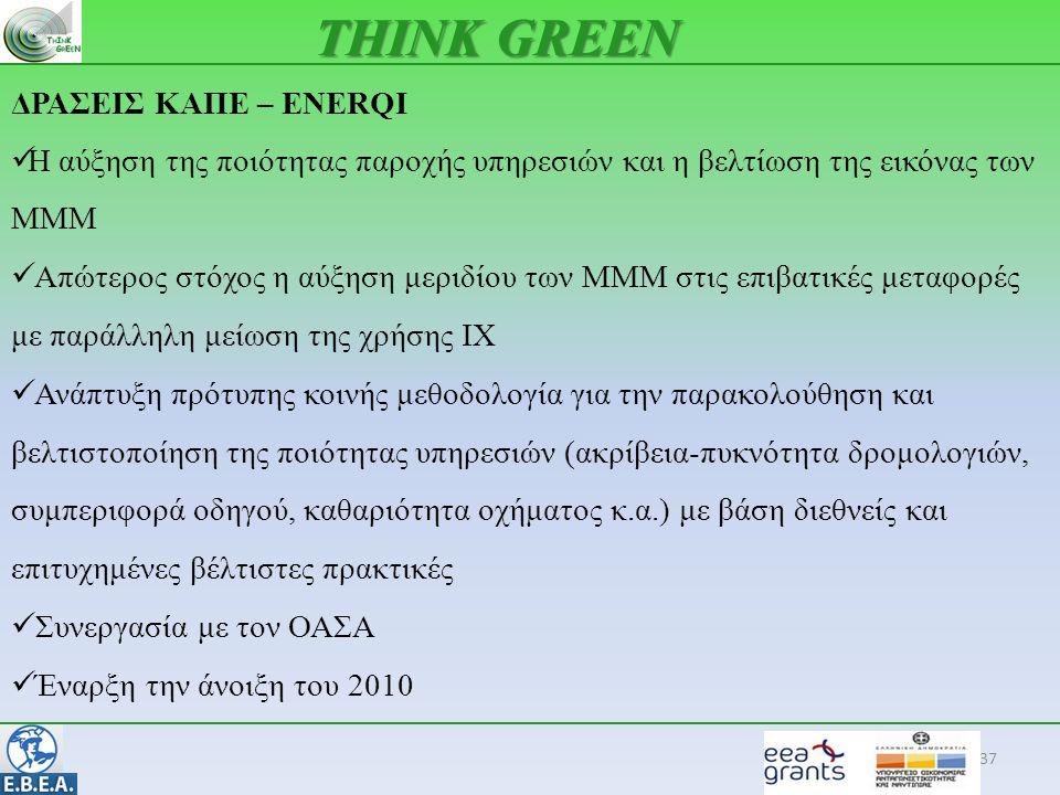 37 THINK GREEN ΔΡΑΣΕΙΣ ΚΑΠΕ – ENERQI  Η αύξηση της ποιότητας παροχής υπηρεσιών και η βελτίωση της εικόνας των ΜΜΜ  Απώτερος στόχος η αύξηση μεριδίου