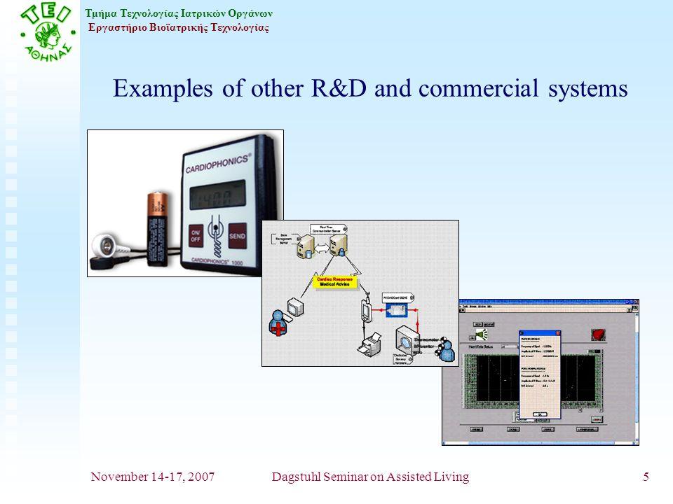 Τμήμα Τεχνολογίας Ιατρικών Οργάνων Εργαστήριο Βιοϊατρικής Τεχνολογίας November 14-17, 2007Dagstuhl Seminar on Assisted Living5 Examples of other R&D and commercial systems