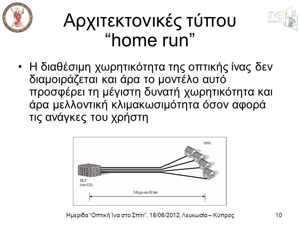 """Ημερίδα """"Οπτική Ίνα στο Σπίτι"""", 18/06/2012, Λευκωσία – Κύπρος10 Αρχιτεκτονικές τύπου """"home run"""" •Η διαθέσιμη χωρητικότητα της οπτικής ίνας δεν διαμοιρ"""