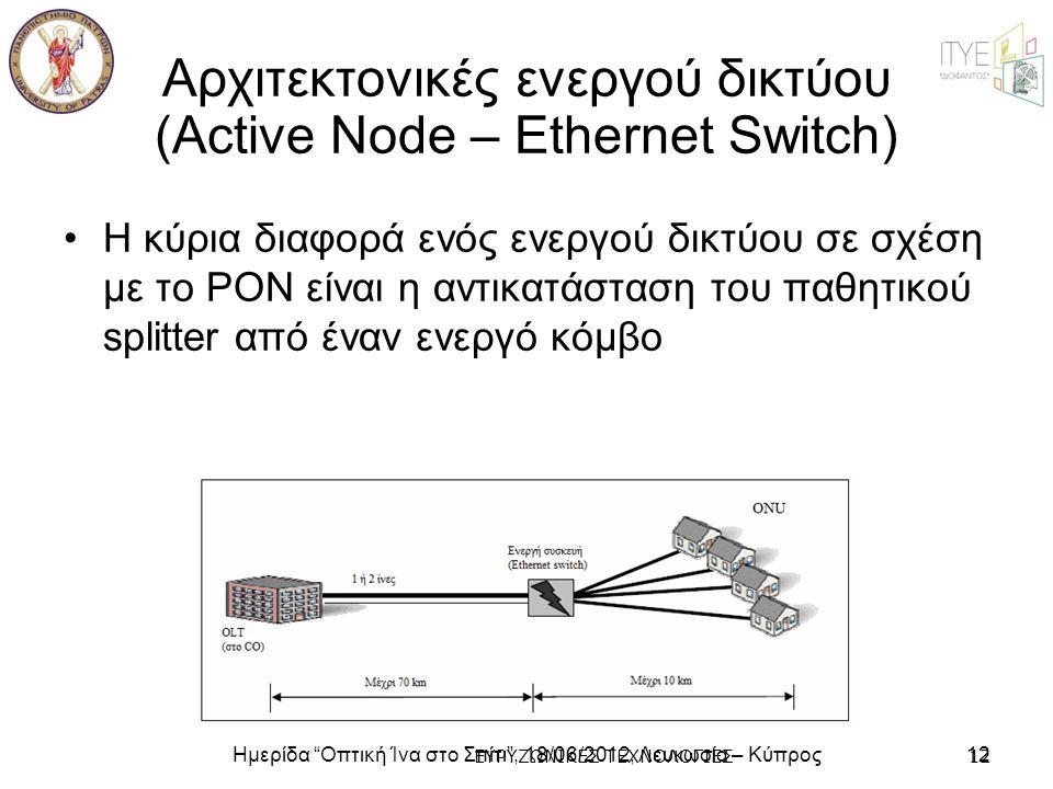 """Ημερίδα """"Οπτική Ίνα στο Σπίτι"""", 18/06/2012, Λευκωσία – Κύπρος12 ΕΥΡΥΖΩΝΙΚΕΣ ΤΕΧΝΟΛΟΓΙΕΣ12 Αρχιτεκτονικές ενεργού δικτύου (Active Node – Ethernet Switc"""