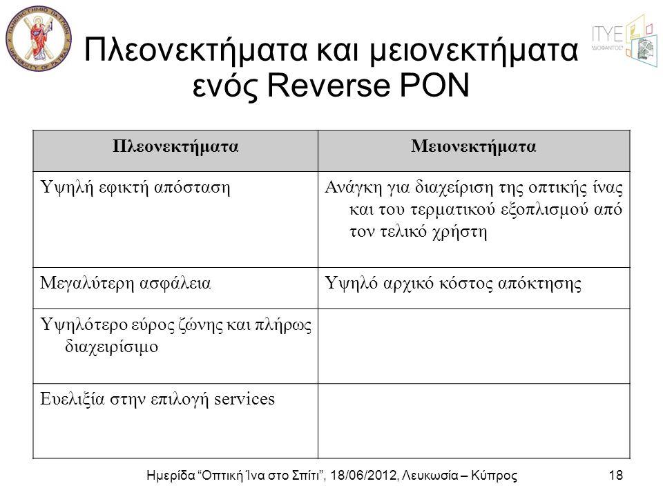 """Ημερίδα """"Οπτική Ίνα στο Σπίτι"""", 18/06/2012, Λευκωσία – Κύπρος18 Πλεονεκτήματα και μειονεκτήματα ενός Reverse PON ΠλεονεκτήματαΜειονεκτήματα Υψηλή εφικ"""