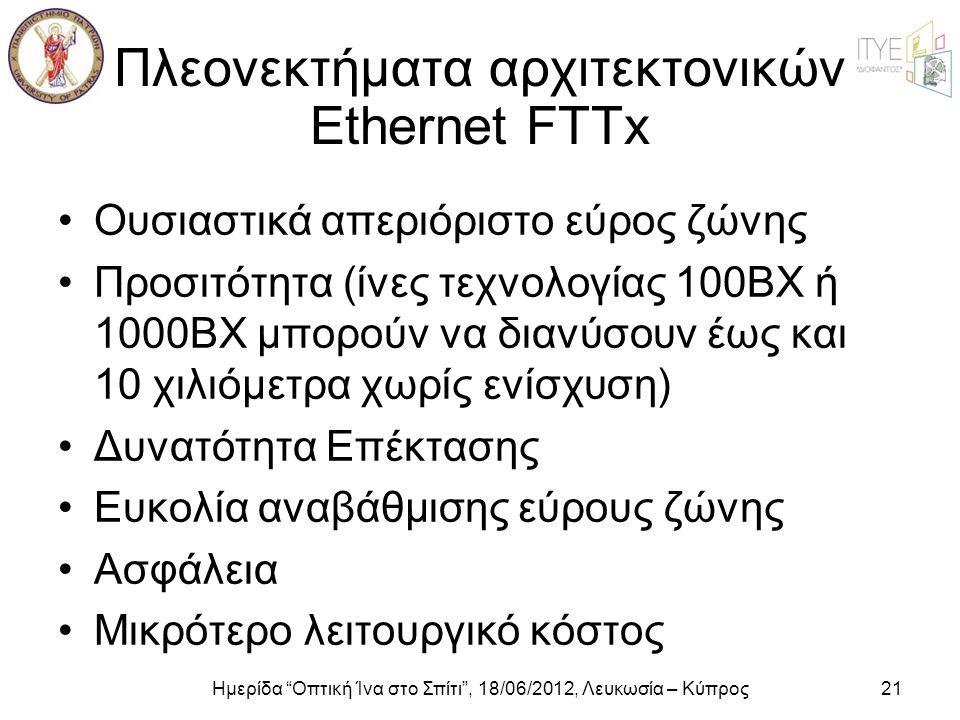 """Ημερίδα """"Οπτική Ίνα στο Σπίτι"""", 18/06/2012, Λευκωσία – Κύπρος21 Πλεονεκτήματα αρχιτεκτονικών Ethernet FTTx •Ουσιαστικά απεριόριστο εύρος ζώνης •Προσιτ"""