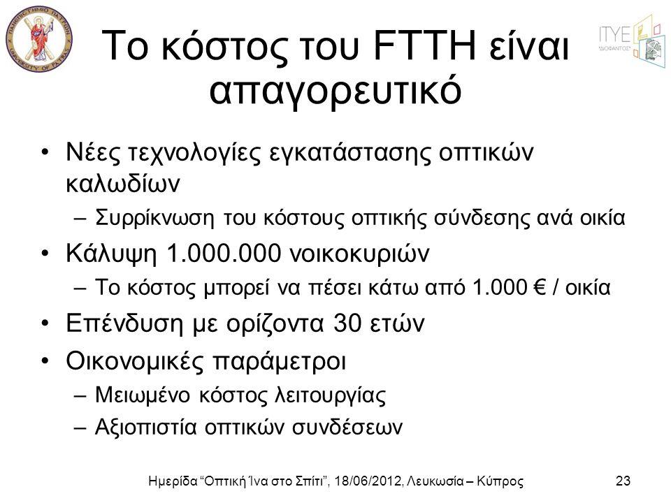 """Ημερίδα """"Οπτική Ίνα στο Σπίτι"""", 18/06/2012, Λευκωσία – Κύπρος23 Το κόστος του FTTH είναι απαγορευτικό •Νέες τεχνολογίες εγκατάστασης οπτικών καλωδίων"""