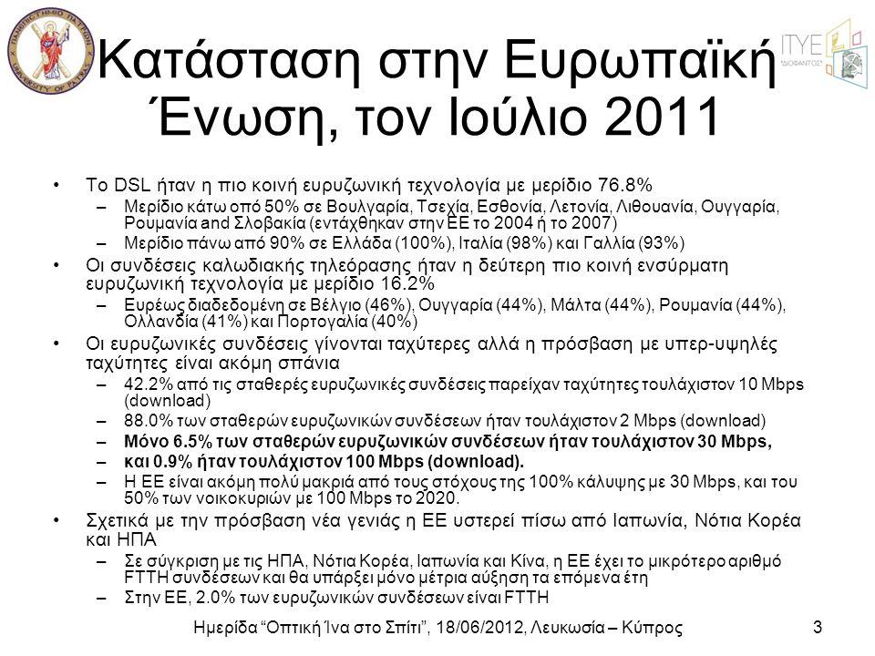"""Ημερίδα """"Οπτική Ίνα στο Σπίτι"""", 18/06/2012, Λευκωσία – Κύπρος3 Κατάσταση στην Ευρωπαϊκή Ένωση, τον Ιούλιο 2011 •Το DSL ήταν η πιο κοινή ευρυζωνική τεχ"""