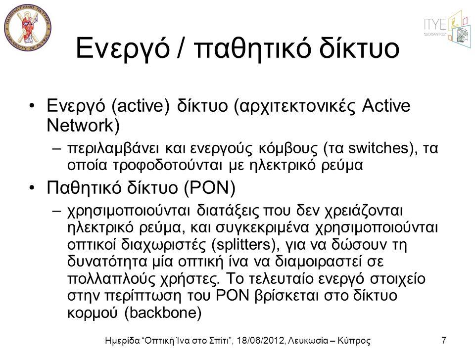 """Ημερίδα """"Οπτική Ίνα στο Σπίτι"""", 18/06/2012, Λευκωσία – Κύπρος7 Ενεργό / παθητικό δίκτυο •Ενεργό (active) δίκτυο (αρχιτεκτονικές Active Network) –περιλ"""